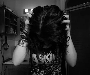 asking alexandria, girl, and black and white image