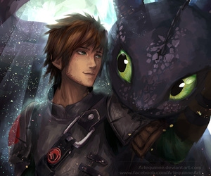 hiccup, art, and toothless image