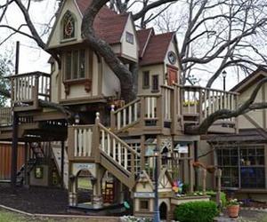 tree house, fun, and house image
