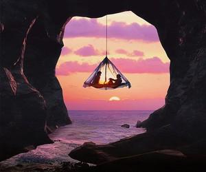 sunset, sea, and couple image