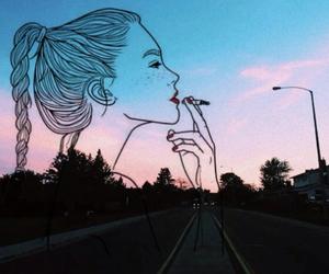 art, outline, and smoke image