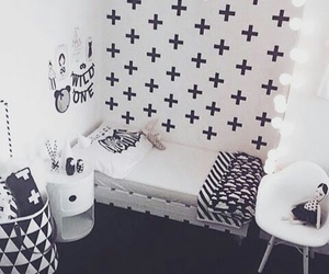 room, bedroom, and black and white image
