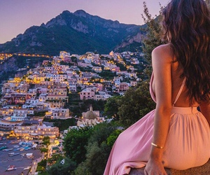dress, city, and pink image