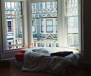 bay, bed, and window image
