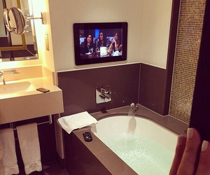 luxury, bath, and tv image