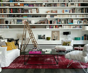 book, interior, and living room image