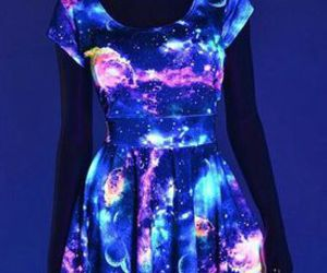 dress, galaxy, and blue image