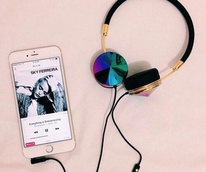 music, iphone, and headphones image