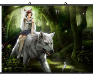 anime, wolf, and princess mononoke image