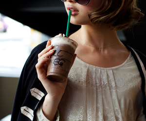 girl, starbucks, and coffee image