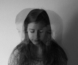 black and white, double exposure, and girl image