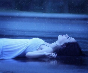 girl, rain, and alone image