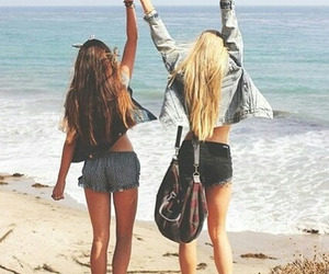 beach, girl, and friends image