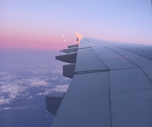 airplane, pastels, and airplane window image