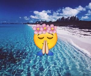 beach, flowers, and emoji image