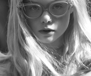 b&w and Elle Fanning image