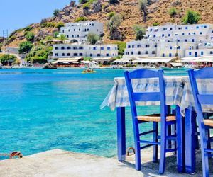 blue, cafe, and Greece image