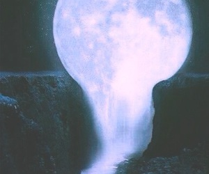 moon, night, and waterfall image