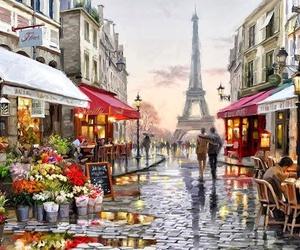 couple, paris, and art image