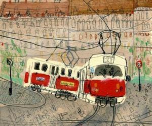 city, illustration, and rail image