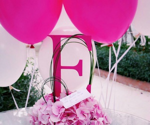 balloons, f, and flowers image