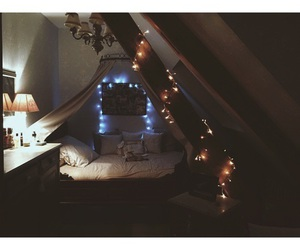 bedroom, hipster, and lights image