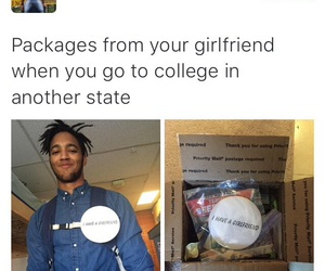 funny, college, and girlfriend image