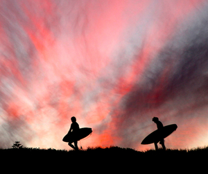 sunset, surf, and surfing image