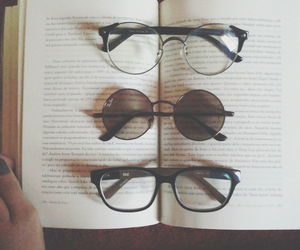 accessories, book, and glasses image