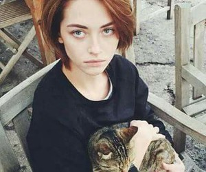 cat, beauty, and girl image