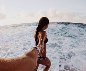 couple, beach, and summer image