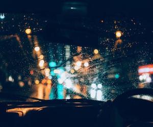 light, rain, and car image