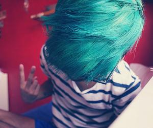 boy, blue hair, and hair image