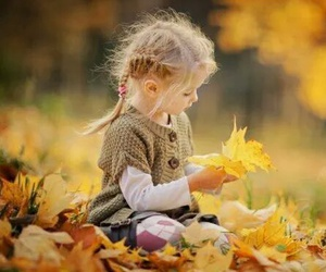 girl, child, and leaves image