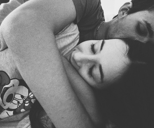 black and white, cuddling, and kiss image