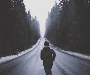 run, boy, and road image