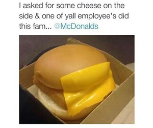funny, cheese, and McDonald's image