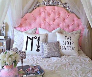 bed, chic, and cream image