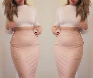pink lipstick, light brown hair, and leather pencil skirts image