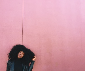 pink, Afro, and black woman image