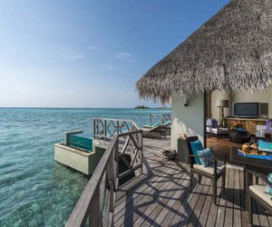 indian ocean, Maldives, and water bungalows image