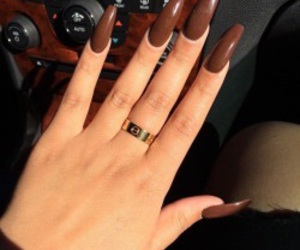 nails, brown, and ring image