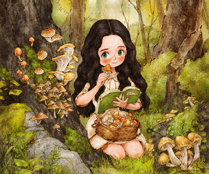 forest, girl, and art image
