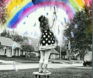 rainbow, art, and black and white image