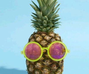 background, blue, and pineapple image