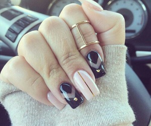 nails, nail art, and black image