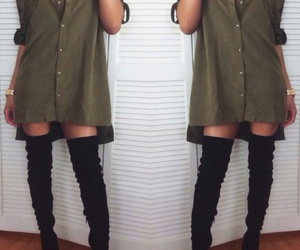 gold watch, black knee high boots, and army green t-shirt dress image