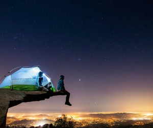 camping, night, and light image