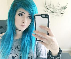 dyed hair, hair, and blue hair image