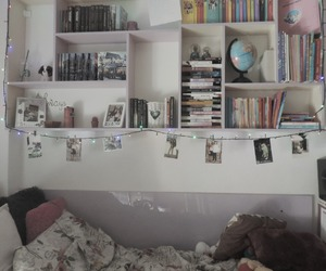 bed, books, and harry potter image